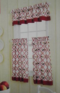 """Red Gingham Check Plaid Rooster Window Curtains - 36"""" Tiers"""