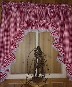 """Red Gingham Ruffled Swag Valance Curtain  82"""" Wide x 36 Long"""
