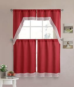 Red 4 Piece Kitchen Window Curtain Set: Lace Border, 2 Swag