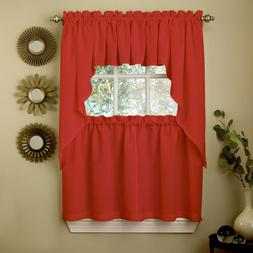 Red Opaque Solid Ribcord Kitchen Curtains Choice of Tier Val