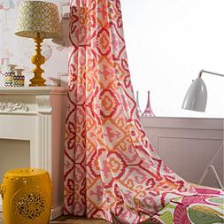 Red Pink Orange Curtains Geometry Drapes - Anady Top 2 Panel