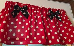 Red Polka Dot Black Bows Cotton Window Curtain Valance handm