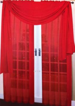 3 Piece Red Sheer Voile Curtain Panel Set: 2 Red Panels and