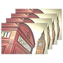WellLee Red Telephone Box Big Ben London Placemat Set Polyes