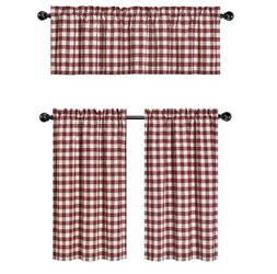 Wine Red & White Country Checkered Plaid Kitchen Tier Curtai