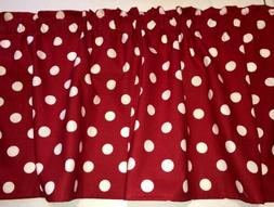 Red White Polka Dot Curtain Valance Window Topper Cotton fab