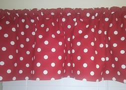 Red and white polka dots valance curtain. Window treatment.