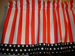 Red White Stripe Black Polka Dot Trim Kitchen Window Valance