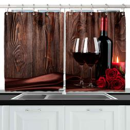 Red Wine Rose Wood Wall Decor Kitchen Curtains Window Drapes