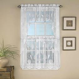 Reef Lace Rod Pocket Tier Curtain 24L,White
