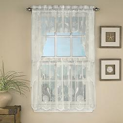 Reef Marine Ivory Knitted Lace Kitchen Curtains Choice of Ti