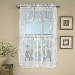 Reef Marine White Knit Lace Kitchen Curtains Choice of Tier,