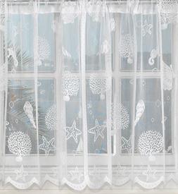 Reef seashells sheer lace kitchen curtains White or Ivory -