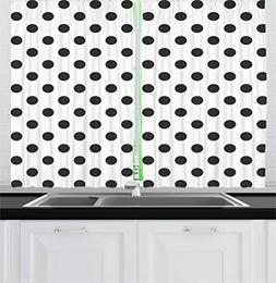 Ambesonne Retro Kitchen Curtains, Nostalgic Polka Dots Patte