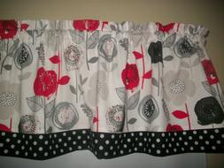 Retro Red Flower Black Polka Dot modern fabric kitchen curta