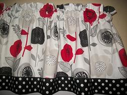 Retro Red Flower Black Polka Dot modern fabric kitchen toppe