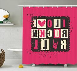 Ambesonne Retro Shower Curtain, Vintage Letters I Love Rock