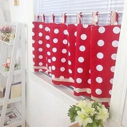 Abreeze Retro Small Windows Curtains for Kitchen - Red Polka