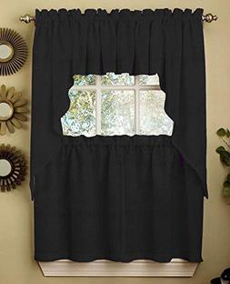 Ribcord Solid Color Kitchen Curtain Swag Valance Pair 54W x