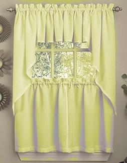 Ribcord Solid Color Kitchen Curtain Tier Pair 54W x 36L, Yel