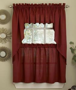 Ribcord Solid Wine  color Kitchen Curtain - Brand New