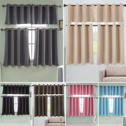Ring Top Thermal Insulated Blackout Window Short Curtain For