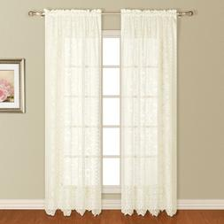 United Curtain New Rochelle Lace Window Curtain Panel, 56 by