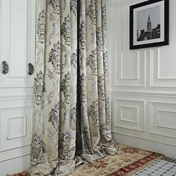 IYUEGO Rococo Ivory Jacquard Grommet Top Curtain Draps With