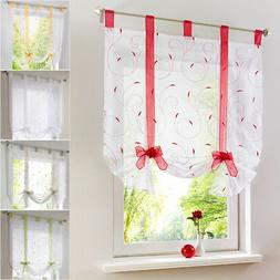 Rod Liftable Kitchen Bathroom Window Roman Curtain Floral Sh