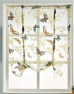 HomeyHo Rod Pocket Curtains Window Curtains Sheer Pattern Ti
