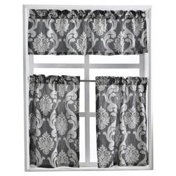 NAPEARL Set of 3 Pieces Rod Pocket Kitchen Curtains Valance