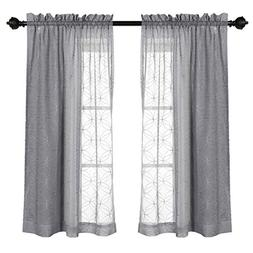 MYSKY HOME Rod Pocket Gray Sheer Curtains for Bedroom Embroi