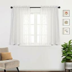 MYSKY HOME Rod Pocket Window Embroidery Voile Embroidered Sh