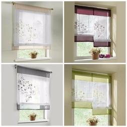 Roman Window Shades Embroidered Kitchen Curtains Sheer Curta