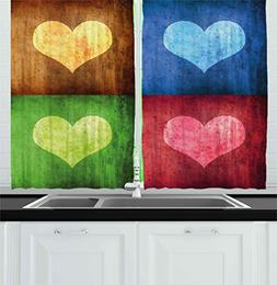 Ambesonne Romance Kitchen Curtains, Heart Figures on Differe