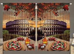 Rome Colosseum Italy Pizza Fall Leaves 55 W X 39 L Inch Euro