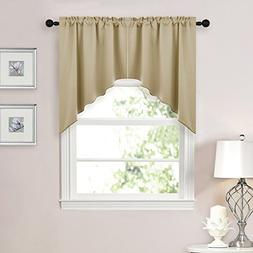 NICETOWN Room Darkening Kitchen Tier Curtains- Tailored Scal