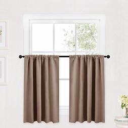 RYB HOME Valance Curtains Set, Half Window Decoration Blacko