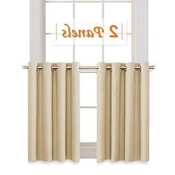 RYB HOME Room Darkening Curtain Tiers for Bedroom, Half Wind