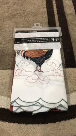 Rooster 3PC Embroidery Kitchen Curtain Set