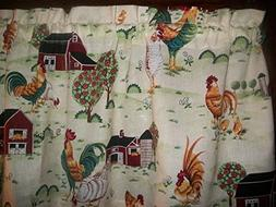 Rooster Chicken Farm Barn country kitchen fabric window curt