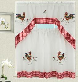 Rooster Kitchen Curtain with Swag and Tier Set 36 in with Ch