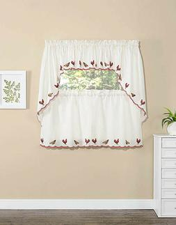 Rooster Kitchen Curtains Swag Valance Tiers Country Farmhous