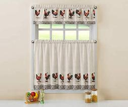 Rooster Postcard Cafe Tier Curtains Valance Country Farm Ell