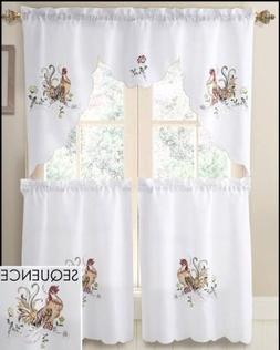 Rooster Sequence & Embroidery Kitchen Curtain Set