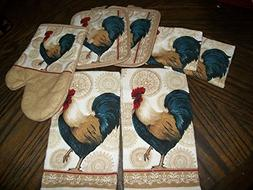 Rooster Tan, Blue, Red 7 Piece Set Of Dish Towels
