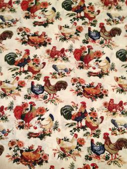 Roosters Chickens Farm Country Hens cotton Valance Window 15