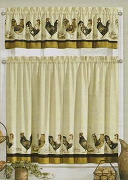 Interiors by design Roosters Rod Pocket Tier and Valance Kit