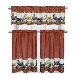 Roosters & Sunflowers Complete 3 Pc. Kitchen Curtain Tier &