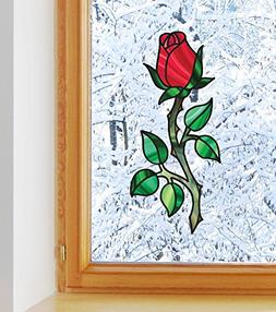 Rosebud on Long Stem - Rose - Stained Glass Style - See-Thro